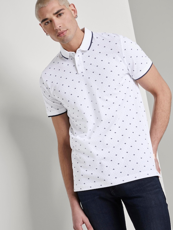Poloshirt mit Allover-Print - Männer - white mini palm leaf dot print - 5 - TOM TAILOR Denim