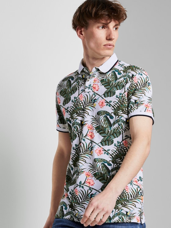 Poloshirt mit Allover-Print - Männer - white colorful botanical print - 5 - TOM TAILOR Denim