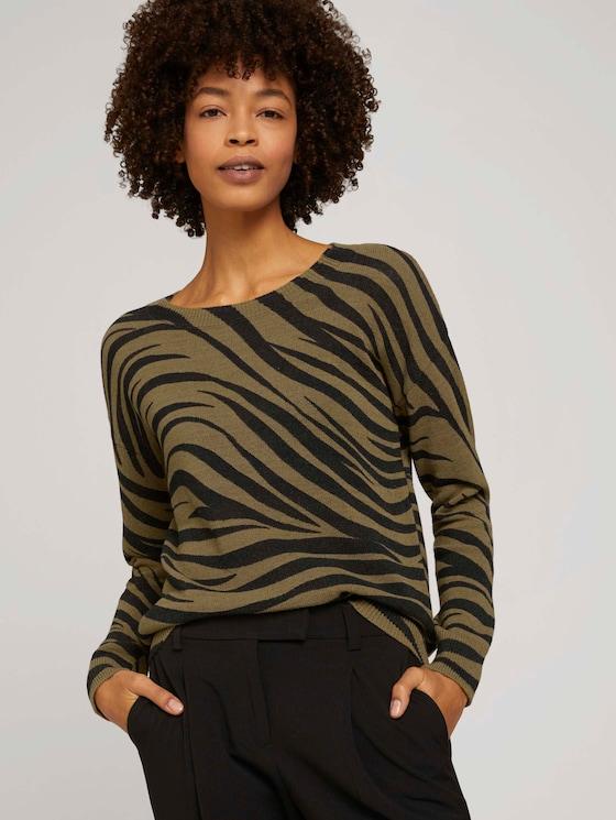 Pullover im Zebra-Muster - Frauen - olive zebra design - 5 - Mine to five