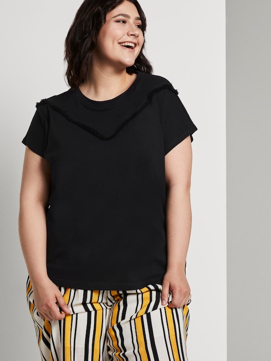 T-shirt with fringed details - Women - Deep Black - 5 - My True Me