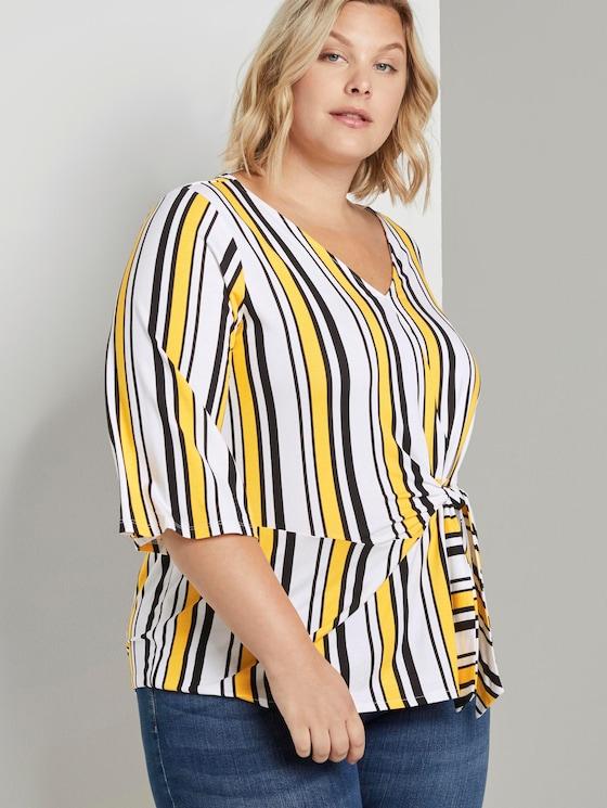 Curvy - Bluse mit Knoten-Detail - Frauen - black yellow stripe - 5 - My True Me