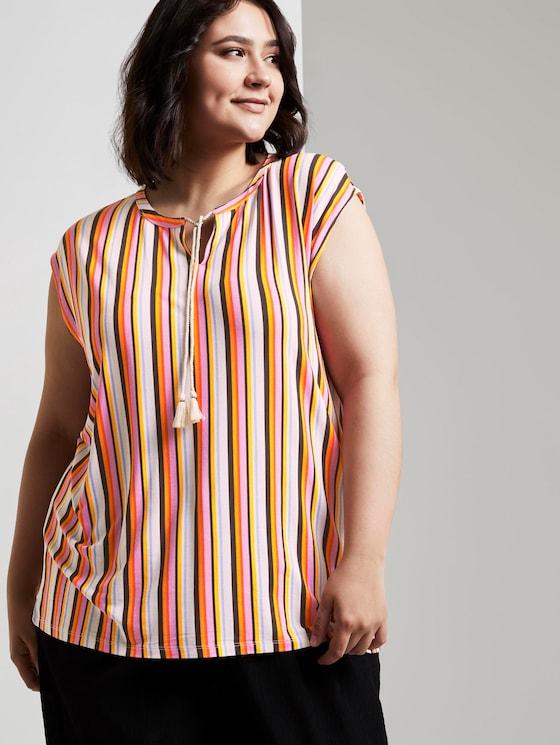 Ärmellose Bluse mit Schleifen-Detail - Frauen - mutlicolor stripe - 5 - My True Me