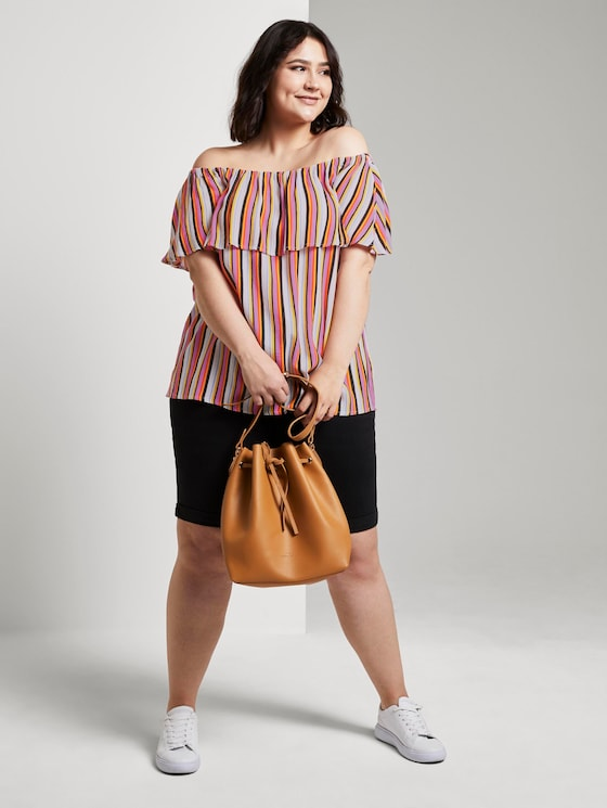 Blouse with a Carmen neckline and flounce - Women - mutlicolor stripe - 3 - My True Me