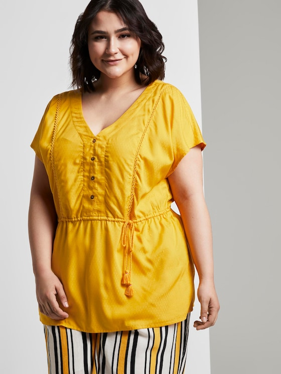 Fließende Bluse mit Quasten-Details - Frauen - deep golden yellow - 5 - My True Me