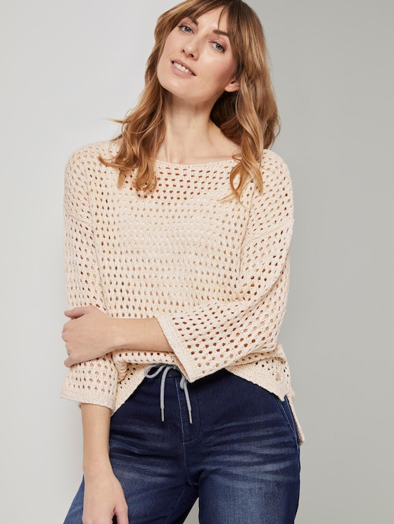 Ajour pullover with cut-out details - Women - soft vanilla - 5 - TOM TAILOR