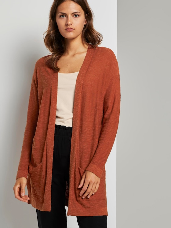 Long cardigan with loose-fit pockets - Women - Goji Orange - 5 - TOM TAILOR