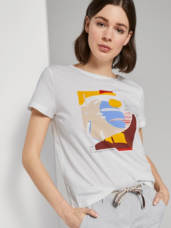 T-shirt with artwork - Women - Dove White - 5 - TOM TAILOR