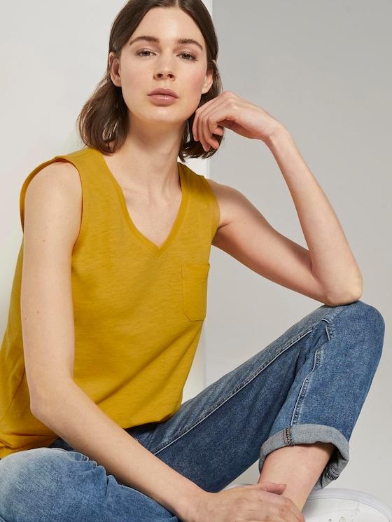 Top mit Brusttasche und Seitenschlitzen - Frauen - deep golden yellow - 5 - TOM TAILOR