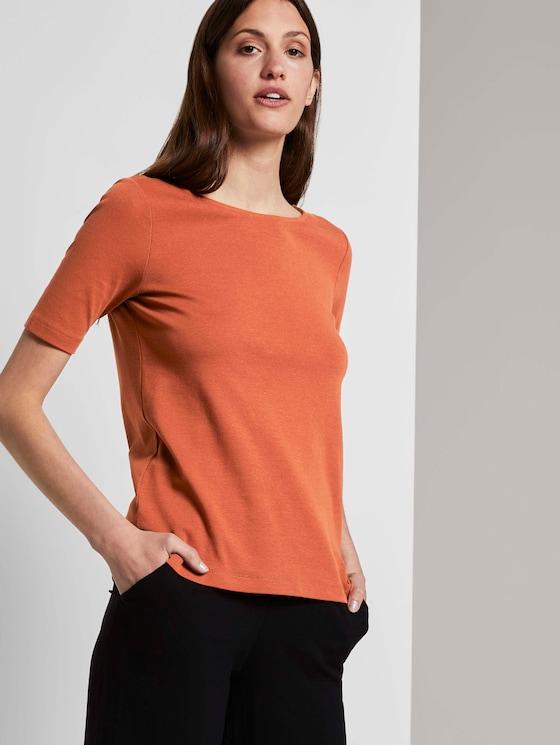 Basic T-Shirt mit weitem Ausschnitt - Frauen - Goji-Orange - 5 - TOM TAILOR