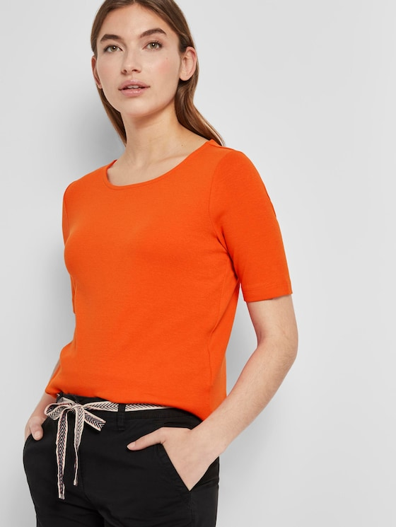 Basic T-Shirt mit weitem Ausschnitt - Frauen - strong flame orange - 5 - TOM TAILOR
