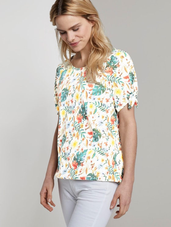 Carmen T-Shirt mit Blumenprint - Frauen - white watercolor flower design - 5 - TOM TAILOR