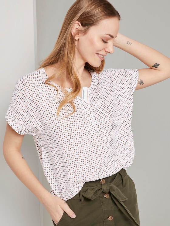 Printed T-shirt in a material mix - Women - white geometric design - 5 - TOM TAILOR