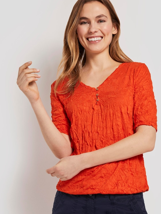 Textured crincle T-shirt with an elastic waistband - Women - strong flame orange - 5 - TOM TAILOR