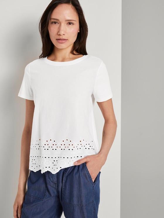 T-Shirt mit Lochstickerei - Frauen - Whisper White - 5 - TOM TAILOR