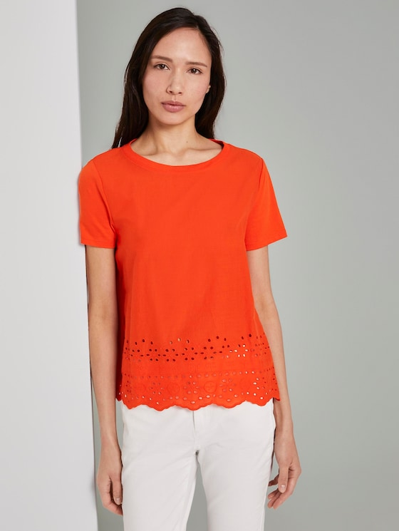 T-Shirt mit Lochstickerei - Frauen - strong flame orange - 5 - TOM TAILOR