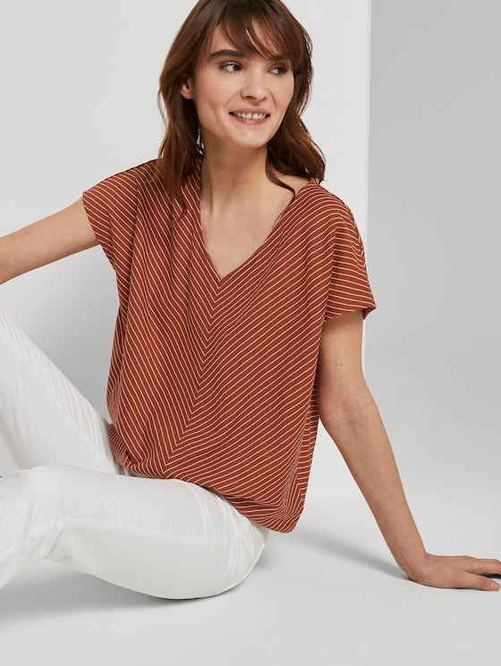T-shirt with slanted stripes and an elastic waistband - Women - brown white stripe - 5 - TOM TAILOR