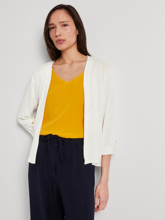 Shirt-Cardigan mit gerafften Ärmeln - Frauen - Whisper White - 5 - TOM TAILOR