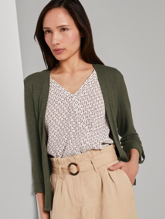 Shirt-Cardigan mit gerafften Ärmeln - Frauen - Woodland Green - 5 - TOM TAILOR