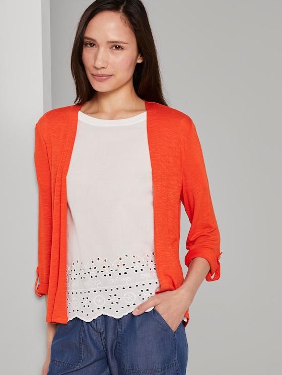Shirt-Cardigan mit gerafften Ärmeln - Frauen - strong flame orange - 5 - TOM TAILOR