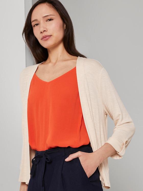 Shirt-Cardigan mit gerafften Ärmeln - Frauen - soft vanilla - 5 - TOM TAILOR