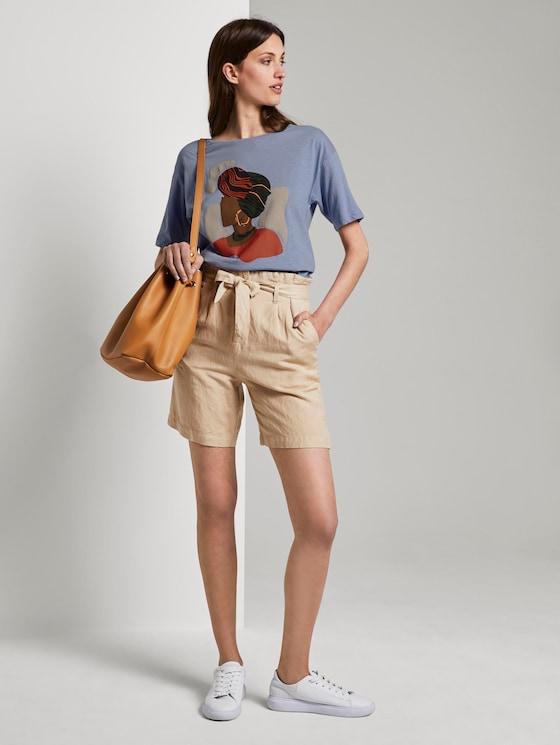 Lockeres T-Shirt mit Print - Frauen - Parisienne Blue - 3 - TOM TAILOR