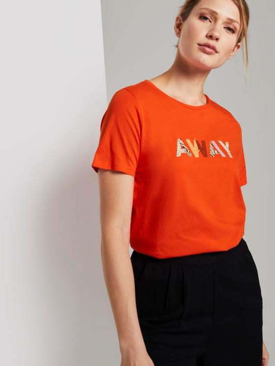 T-Shirt mit Schriftprint - Frauen - strong flame orange - 5 - TOM TAILOR