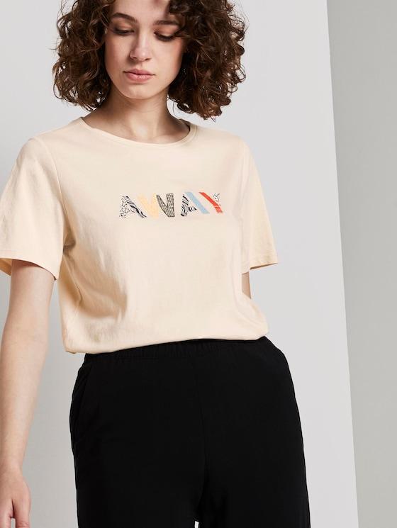 T-Shirt mit Schriftprint - Frauen - soft vanilla - 5 - TOM TAILOR