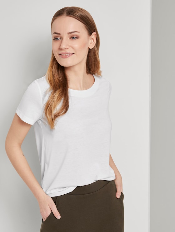 T-Shirt mit Ringdetail am Rücken - Frauen - Whisper White - 5 - TOM TAILOR