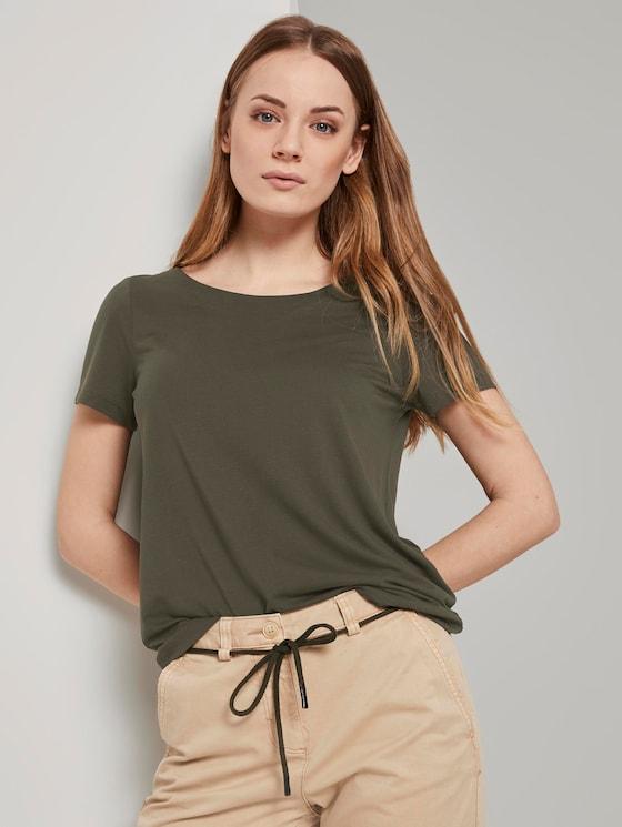 T-Shirt mit Ringdetail am Rücken - Frauen - Woodland Green - 5 - TOM TAILOR