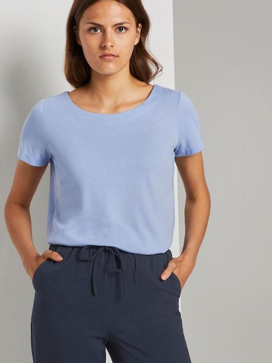 T-Shirt mit Ringdetail am Rücken - Frauen - Parisienne Blue - 5 - TOM TAILOR
