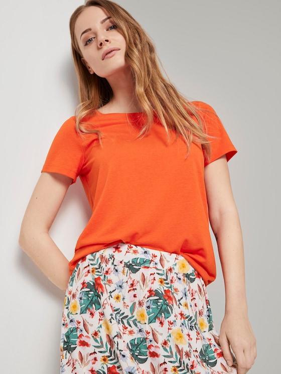 T-Shirt mit Ringdetail am Rücken - Frauen - strong flame orange - 5 - TOM TAILOR