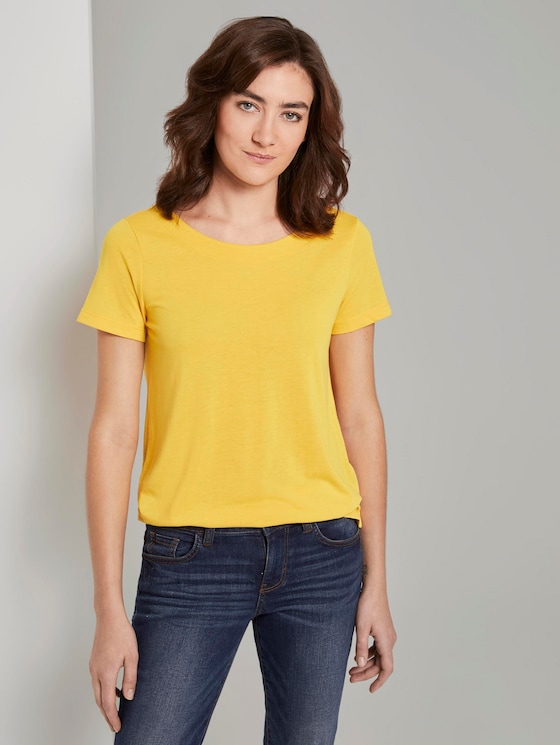 T-Shirt mit Ringdetail am Rücken - Frauen - deep golden yellow - 5 - TOM TAILOR