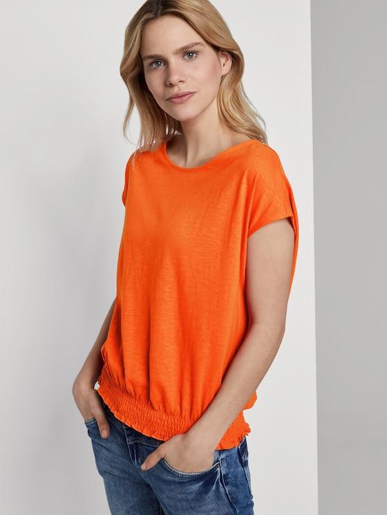 T-Shirt mit Smocking-Detail am Bund - Frauen - strong flame orange - 5 - TOM TAILOR
