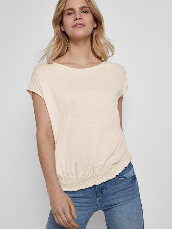 T-Shirt mit Smocking-Detail am Bund - Frauen - soft vanilla - 5 - TOM TAILOR