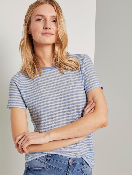 Gestreiftes T-Shirt - Frauen - blue offwhite stripes - 5 - TOM TAILOR