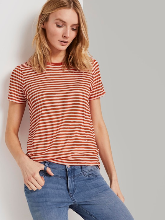 Gestreiftes T-Shirt - Frauen - orange offwhite stripes - 5 - TOM TAILOR