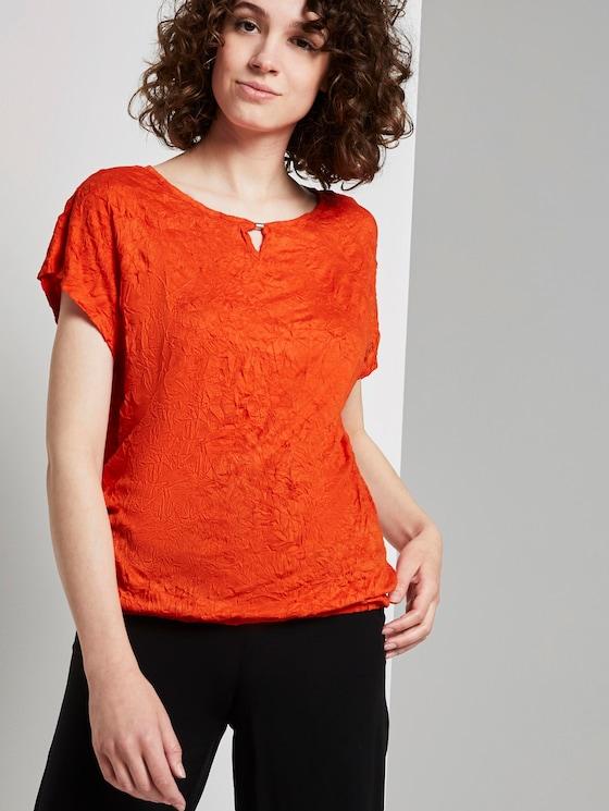 Crincle-T-Shirt mit elastischem Bund - Frauen - strong flame orange - 5 - TOM TAILOR