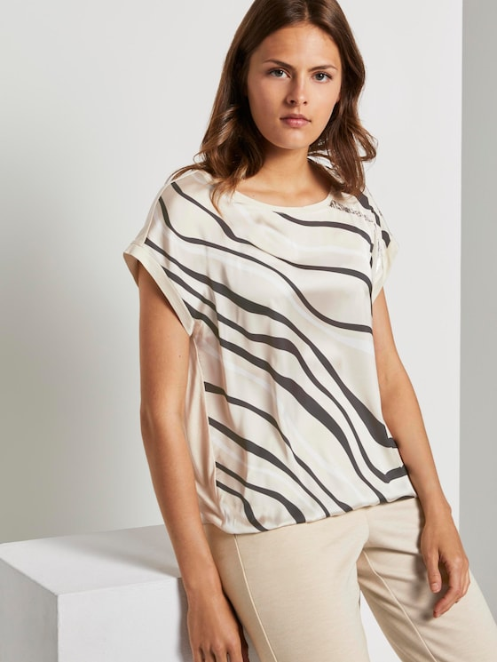 Patterned T-shirt in a material mix - Women - soft vanilla - 5 - TOM TAILOR