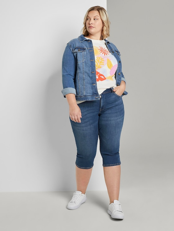 Slim Fit Capri Jeans - Frauen - Used Mid Stone Blue Denim - 3 - My True Me