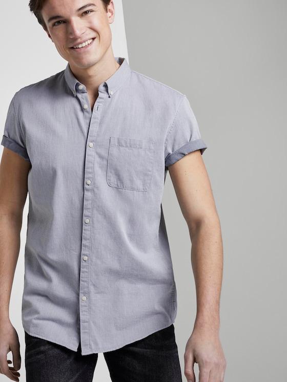 Strukturiertes Kurzarmhemd mit Brusttasche - Männer - Sky-Captain Blue - 5 - TOM TAILOR Denim