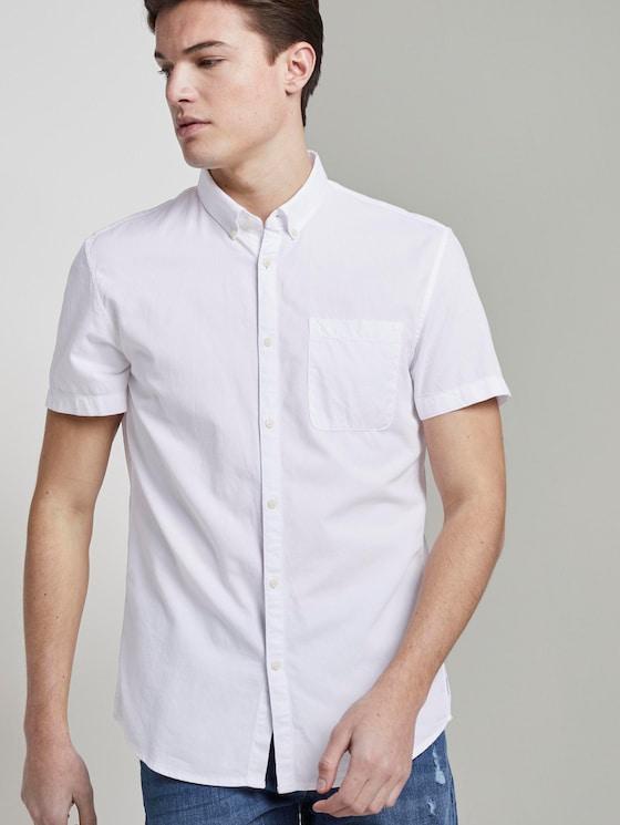 Strukturiertes Kurzarmhemd mit Brusttasche - Männer - Whisper-White - 5 - TOM TAILOR Denim