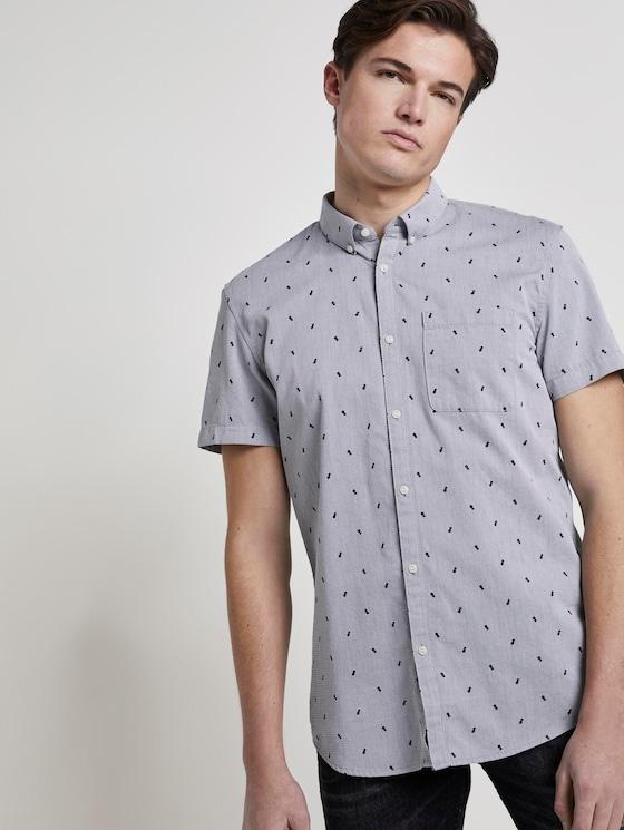 Strukturiertes Kurzarmhemd mit Brusttasche - Männer - navy pineapple print - 5 - TOM TAILOR Denim