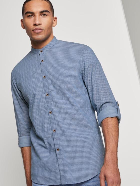 Gemustertes Hemd mit Turn-Ups und Mao-Kragen - Männer - blue small structure print - 5 - TOM TAILOR Denim