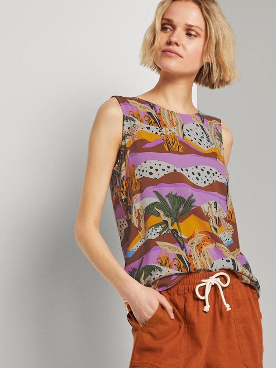 Ärmellose Bluse mit exotischem Print - Frauen - tropical print - 5 - TOM TAILOR Denim