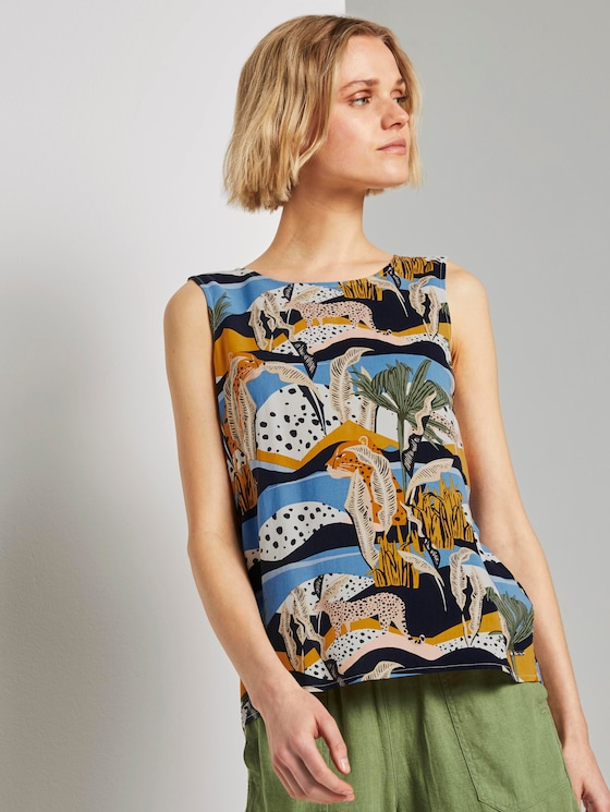 Top with a button tab on the back - Women - tropical safari print blue - 5 - TOM TAILOR Denim