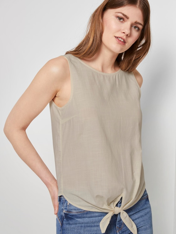 Top mit Knoten-Detail - Frauen - soft creme beige - 5 - TOM TAILOR Denim