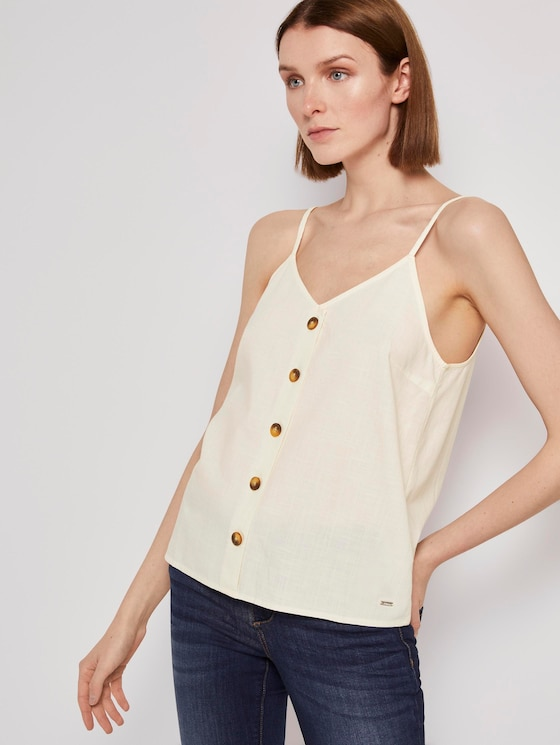 Top mit V-Ausschnitt - Frauen - soft creme beige - 5 - TOM TAILOR Denim