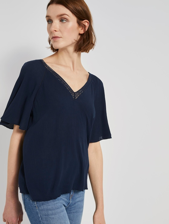 Bluse aus Viskose-Crêpe in A-Shape - Frauen - Real Navy Blue - 5 - TOM TAILOR Denim