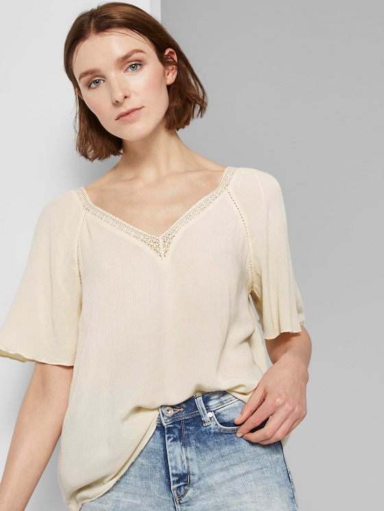 Bluse aus Viskose-Crêpe in A-Shape - Frauen - soft creme beige - 5 - TOM TAILOR Denim