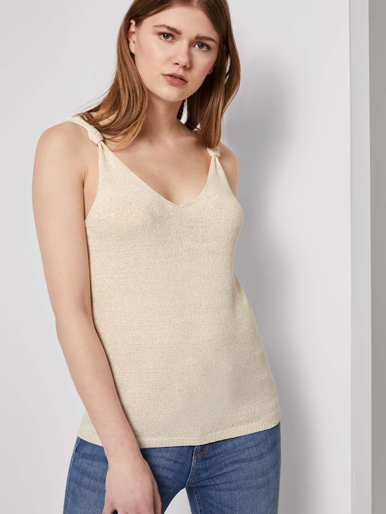 Strick-Top mit Knoten-Detail - Frauen - soft creme beige - 5 - TOM TAILOR Denim
